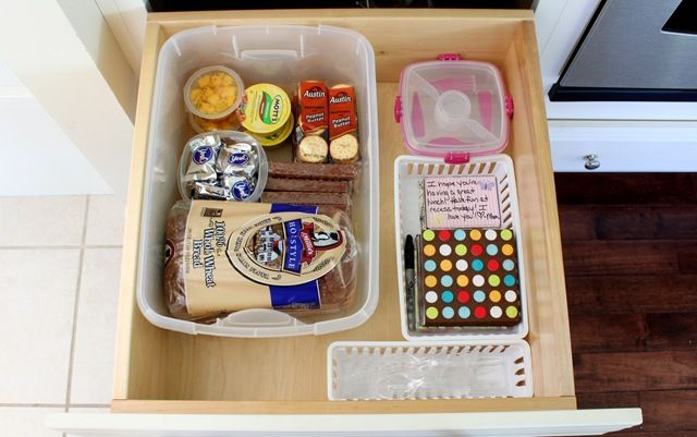 lunch making center (in a drawer or within a basket on a shelf)
