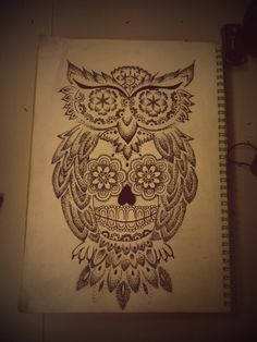 Sugar Skull Owl Tattoo Outline 91789 | UPSTORE