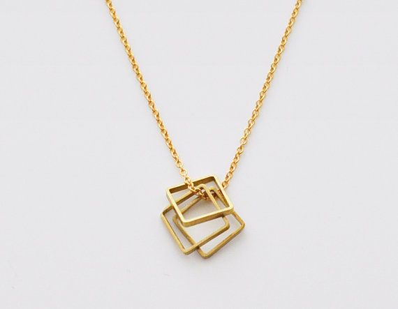 Balance - 3 square brass rings 14k gold filled chain necklace - simple modern geometric jewelry on Etsy, $23.00
