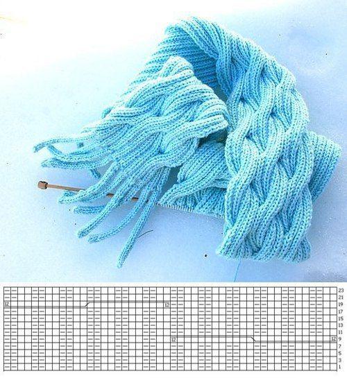 Объемный шарф спицами.