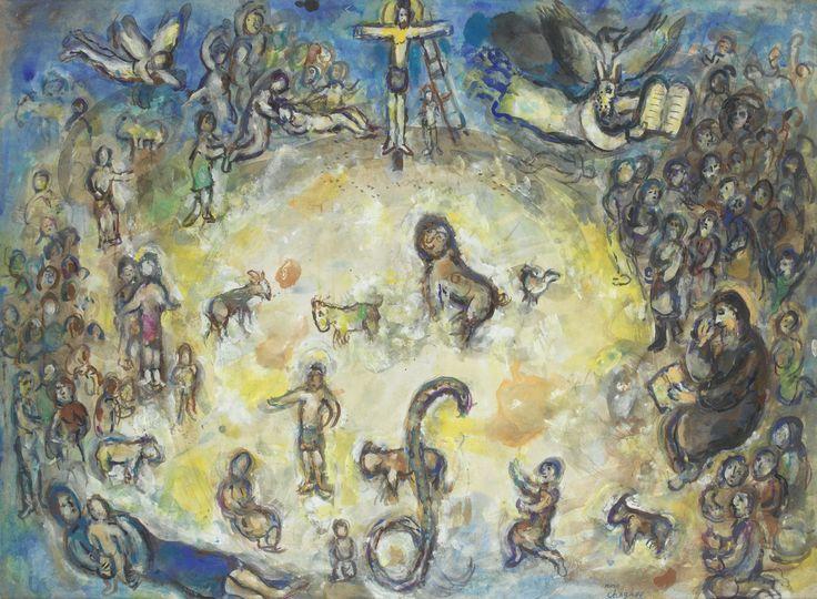 Marc Chagall 1887 - 1985 VARIANTE POUR LE VITRAIL LA PAIX (POUR L'ORGANISATION DES NATIONS-UNIES NEW YORK) porte le cachet de la signature Marc Chagall (en bas vers la droite) gouache, lavis d'encre de Chine, encres de couleur, pastel et crayon noir sur papier 56,1 x 76,5 cm ; 22 1/8 x 30 1/8 in. Exécuté en 1964. LOT SOLD. 247,500 EUR Sotheby's.