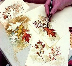 Watercolor greeting cards using leaves as stencils - interesting technique