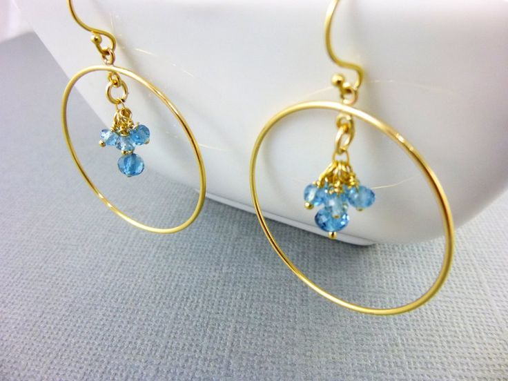 London Blue Topaz Earrings, AAA November Birthstone Earrings, 14kt Gold Filled #AAA_Blue_Topaz #Blue_Topaz_Earrings #Chakra_Earrings