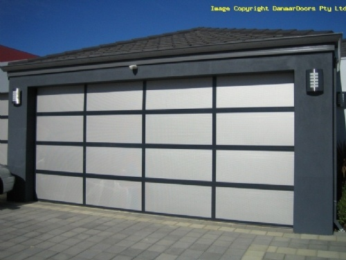 18% Perforated mesh insert sectional garage door, for light and air