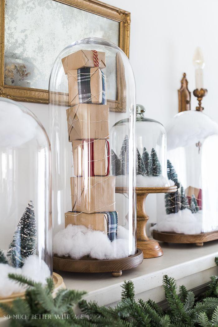 Christmas Mantel Decor with Snow Globe Cloches Seasonal Decor
