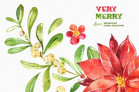 Very Merry. Holiday Collection by OctopusArtis on @creativemarket
