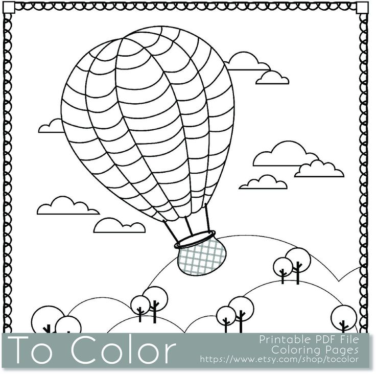 Grown Up Coloring Pages Pdf : Printable hot air balloon coloring page for adults pdf