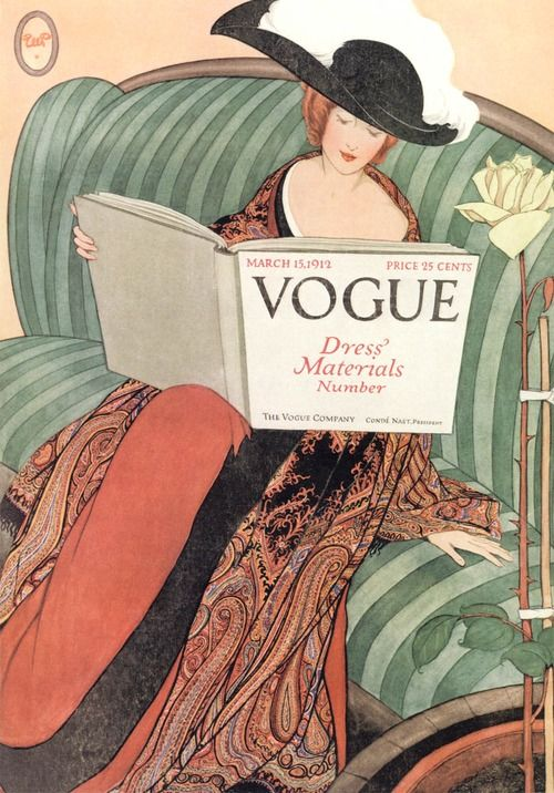 Vogue March 15, 1912. Art Deco fashion cover art by George Wolfe Plank.