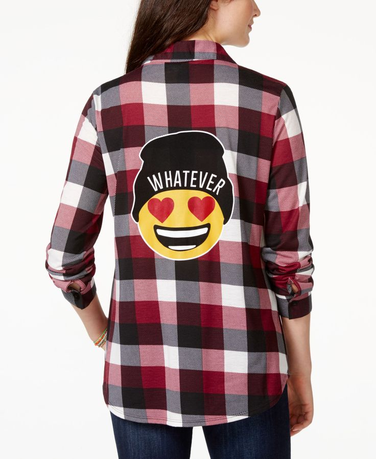 Project 28 Juniors' Emoji High-Low Button-Front Plaid Shirt