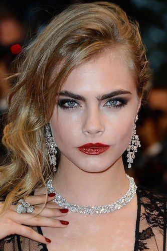 Cara Delevingne was rocking the gothic rep lip and dark brow in Cannes.