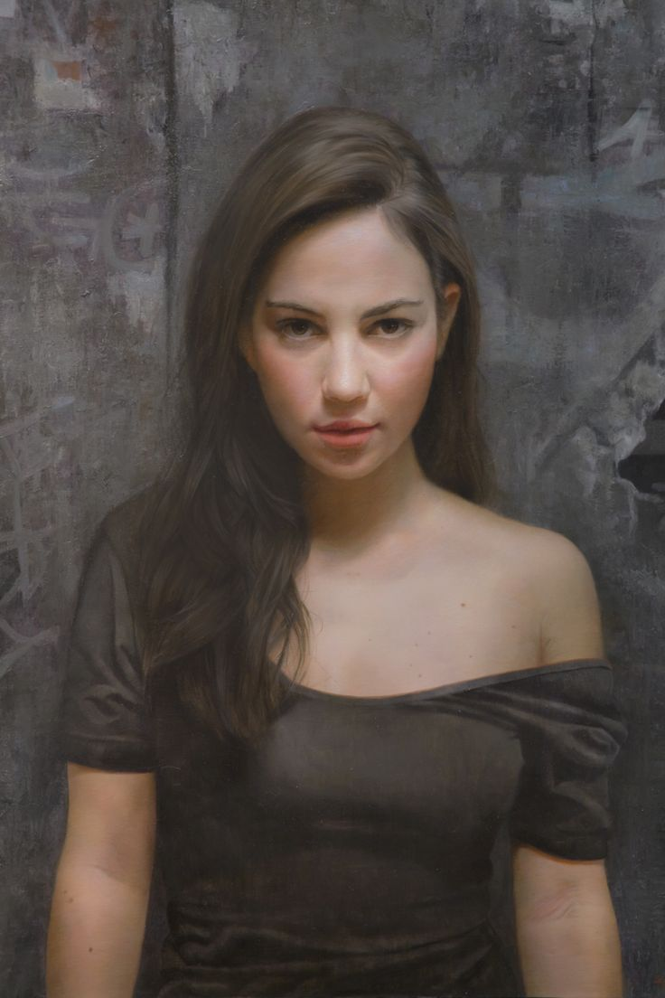 """Mariana"" - David Jon Kassan, realist, oil on panel detail {contemporary artist figurative realism woman painting}"