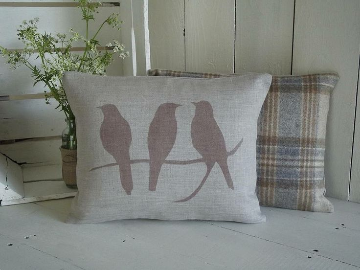 bird on a branch linen cushion by rustic country crafts | notonthehighstreet.com