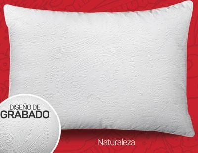 Almohada Blanca Micrograbada Naturaleza