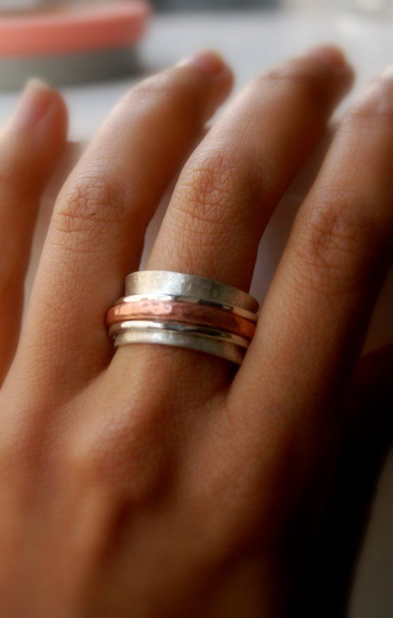 Threesome Spinner silver and copper ring Wedding by LUNATICART