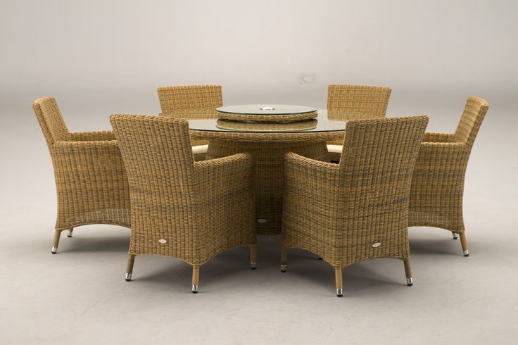 Kingston 6 Seat Golden Rattan Garden Furniture Round Table with Straight Armchairs
