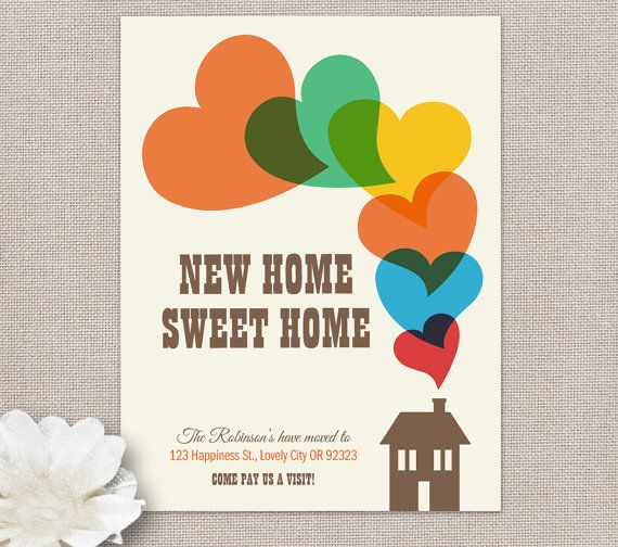 Moving Announcement, Printable Personalized Card - new home sweet home- HOUSE HEARTS Collection