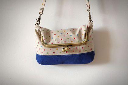 Клатч сумочка с фермуаром Цветные горохи - винтажная фурнитура,сумка,фермуар