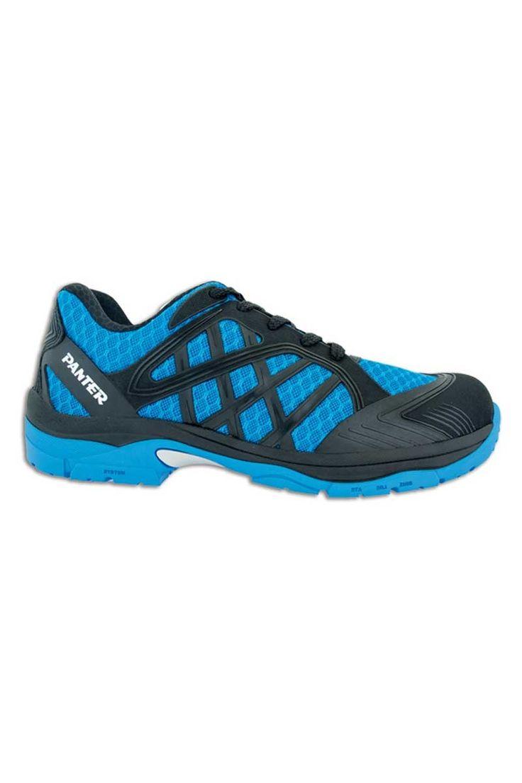 Zapato de seguridad Diamante Link azul con cordones y diseño deportivo. Tiene plantilla téxtil antiperforación que permite una total flexibilidad de la suela y absorve la humedad. Su suela es de caucho nitrilo con una capa de poliuretano que la hace resistente a la abrasión y al calor.  #MasUniformes #RopaLaboral #UniformesDeTrabajo #VestuarioOnline #Zapatos #CalzadoLaboral #ZapatosDeSeguridad  #Panter