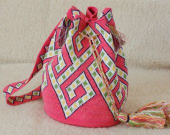 Crocheted Large Multi-Colored Mochila wayuu tecnique tapestry traditional native crossbody sac boho bag