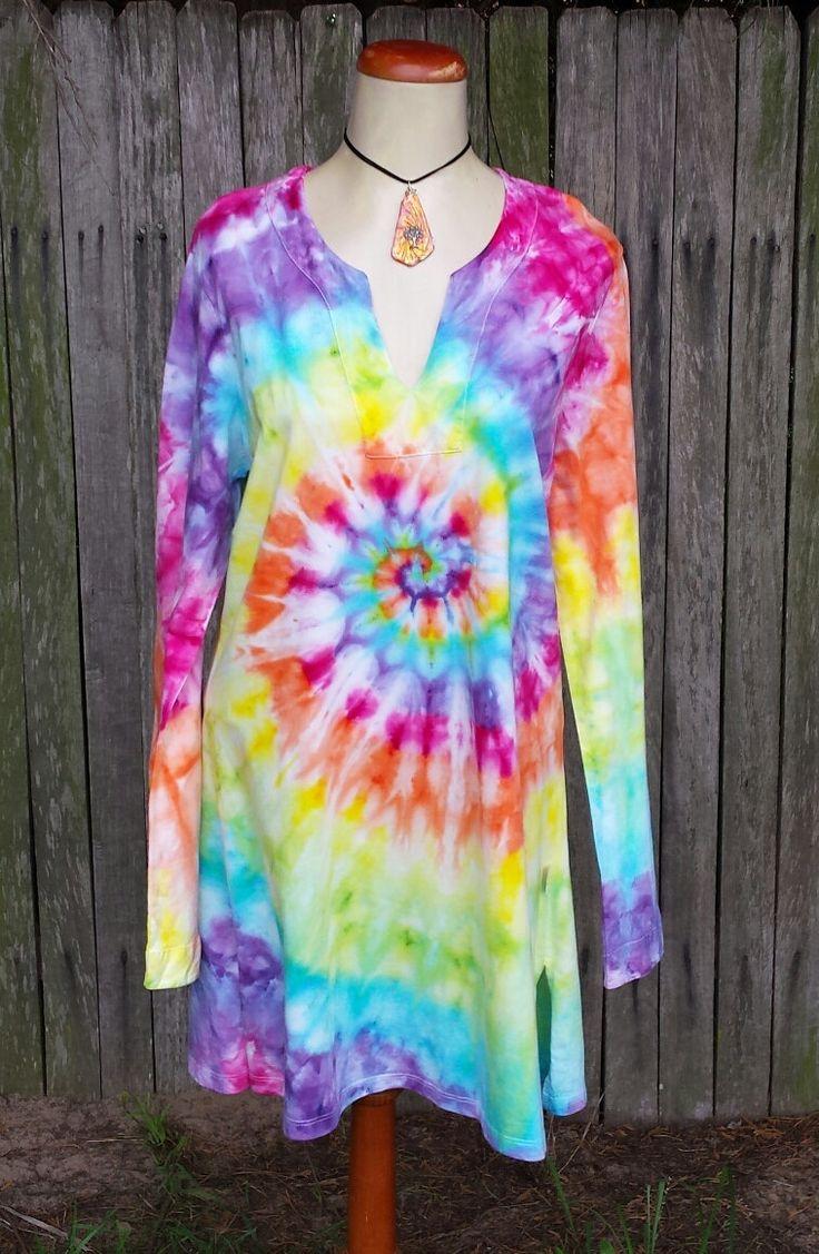 Rainbow tie dye organic cotton tunic by DyingDazeTieDye on Etsy