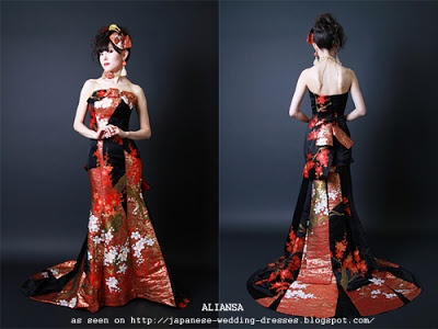 Japanese Wedding Dresses Beyond the Kimono: Aliansas Modern Kimono Fabric Wedding Dresses