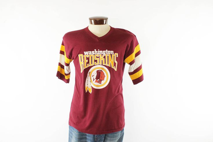 $38, Vintage 80s Washington Redskins T Shirt Knit Screen Tee Jersey 1980s Football Sports NFL by TheVintageReserve on Etsy