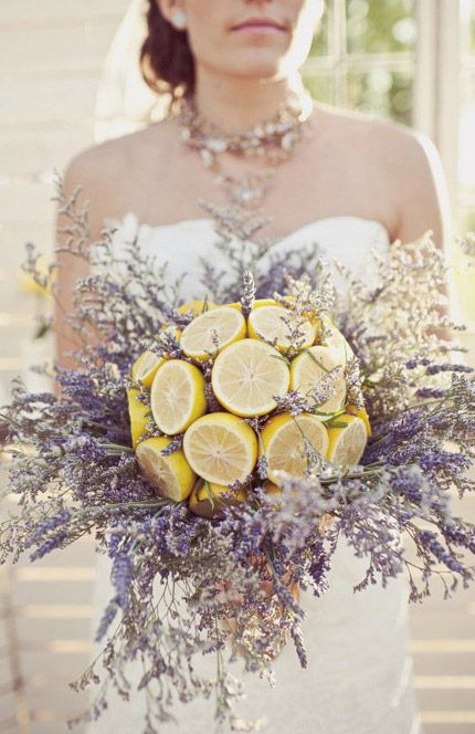 Fruit and Vegetable Wedding Bouquets: lemons and lavender | Photo: Jagger Photography