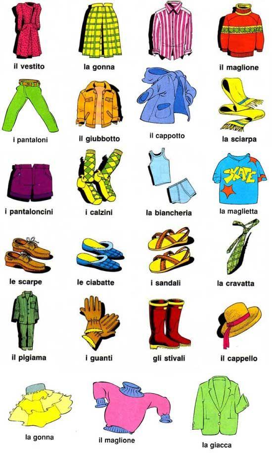 gli abbigliamenti in italiano - Buscar con Google