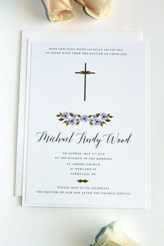 Digital File or Printed Cards, Boy Baptism Invitation, Christening Invitation, First Communion, Watercolour Flowers