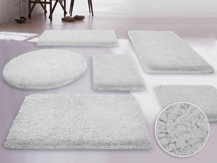 White Fluffy Large Bathroom Rugs Set