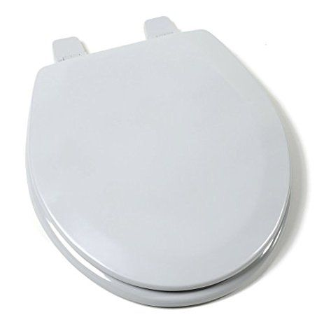 Comfort Seats C1B4R2-80 Deluxe Molded Round Wood Toilet Seat in Silver with Closed Front