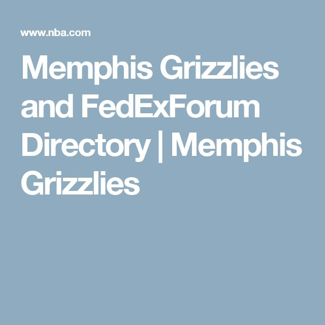 Memphis Grizzlies and FedExForum Directory | Memphis Grizzlies