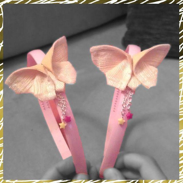 Cerchietto con farfalla origami - Headband with fabric origami butterfly