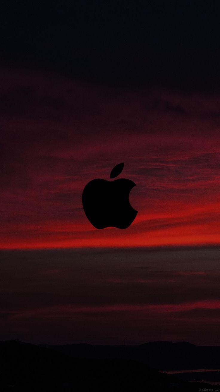 Red Sunset Sky Logo Apple Wallpaper Iphone Clean Black Ios