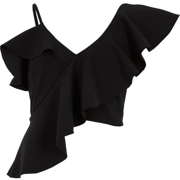 River Island Black asymmetric frill crop top ($52) ❤ liked on Polyvore featuring tops, black, crop tops / bralets, women, asymmetric tops, fitted crop tops, flutter-sleeve tops, camisole tops and ruffle top