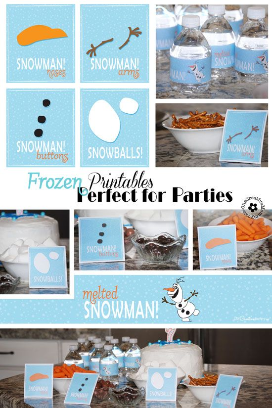 Frozen Printables for Olaf Snowman Snacks and Melted Snowman Water Bottles {OneCreativeMommy.com}
