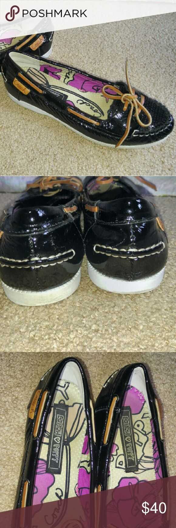 Coach Poppy Black Boat Shoes Flats Loafers Coach Poppy black boat shoes/flats/loafers  Size 7  Rubber bottoms  Black on the outside with a white sole and leather tie  Black sequins on toe area  Interior is purple black and cream colors  Lightly worn but in great condition Coach Shoes Flats & Loafers