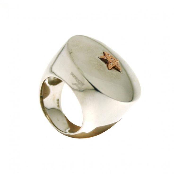 Anello in argento 925 con stella in oro rosa 9k diamanti taglio brillante.