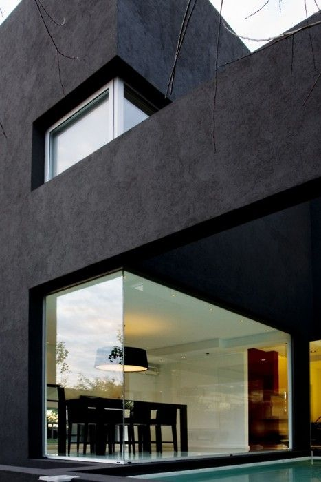 Wiindows: Dining Rooms, Black Window, Modern Architecture, Interiors Design, Houses Architecture, Modern Houses, Black Houses, Modern Home, Corner Window