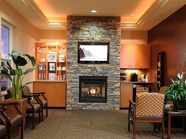TV above stacked brick fireplace (With images) | Stacked ...