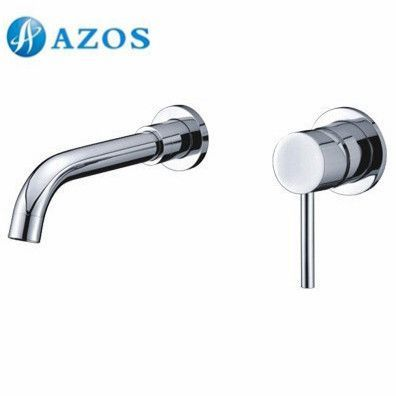 AZOS Bathroom Basin Tap 2 Holes Brass Chrome Polish Wall Mount Hot Cold Water Mixer Toilet Sink Faucet MPEK003