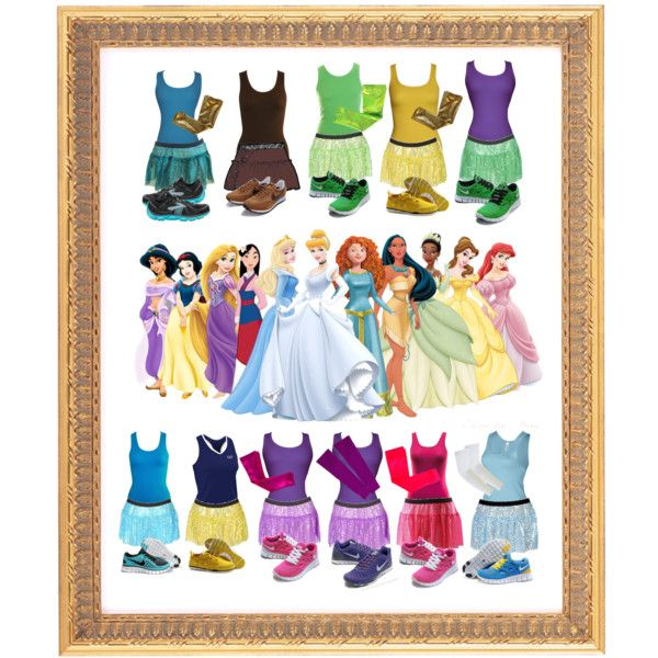 """Disney Princes Costumes for Running"" by according2kelly on Polyvore. Disney Princess half marathon.....one of these days!"