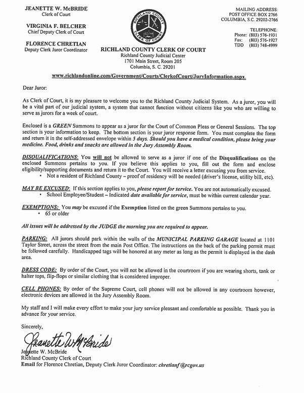 Jury Duty Summons Letter Sample