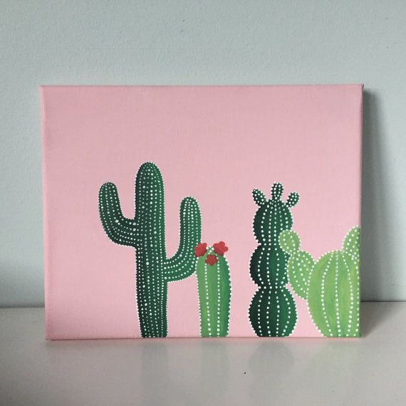Pink Green Cactus Canvas 8x10 In By Ohmyposhcanvases Cute Paintings Diy Art Painting