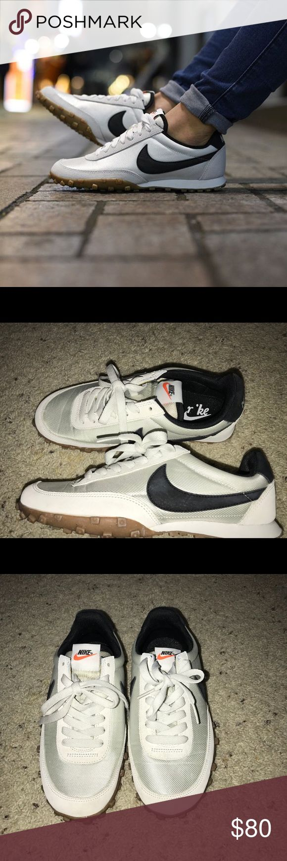 Nike waffle trainers RARE find Worn twice. Like new!! Size 7 Nike waffle trainers like the vintage 1974 waffle trainers!!! Rare find.   Off white/Black. The inside Nike on the insole rubbing off, but not visible when on. Nike Shoes Athletic Shoes