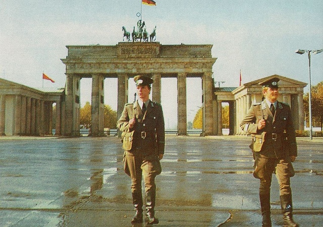 Protecting the DDR from the wretched capitalist hordes... Or something like that.    East German border guards, 1980.