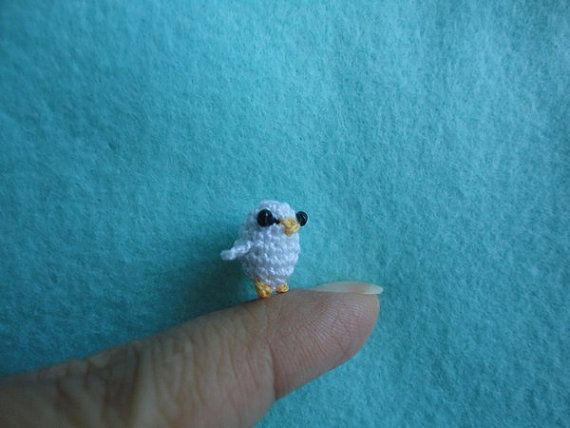 Miniature amigurumi-amigurumi crochet-unique amigurumi-mini arts-white bird-crochet bird-miniature animal-miniature bird