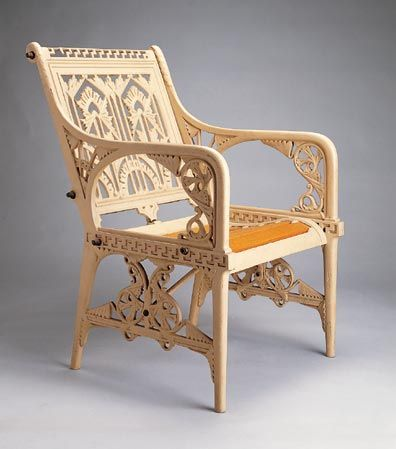 'Lilly' pattern armchair  designed by Christopher Dresser and manufactured by Coalbrookdale Co., Shropshire, England, about 1870. Cast iron, wood