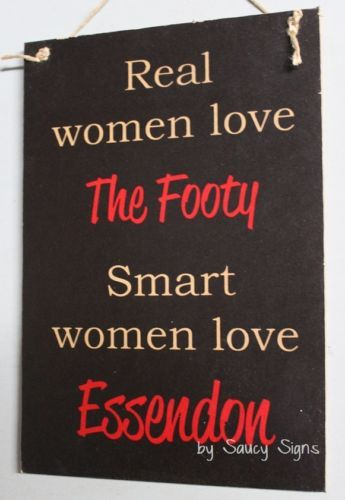Real-Women-Essendon-Footy-Sign-Bar-Kitchen-Shed-Office-Rustic-Bombers-Sign