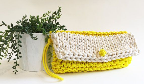 Bourse dembrayage / cuir non embrayage sac jaune par agirlnamedsoo